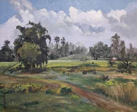 Landscape Oil Art Painting title Landscape 3 by artist Pabitra Kundu