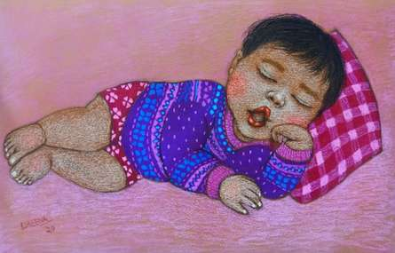 Figurative Dry-pastel Art Painting title Lullaby 21 by artist Meena Laishram