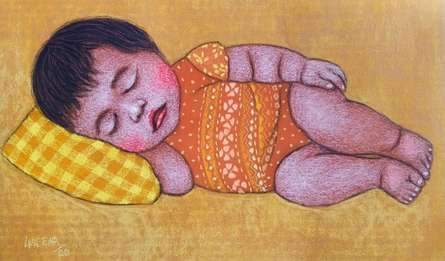 contemporary Dry-pastel Art Painting title Lullaby 22 by artist Meena Laishram