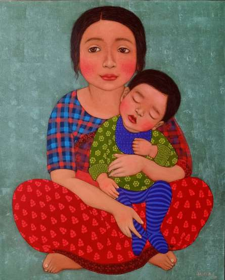 Figurative Dry-pastel Art Painting title Mother and child by artist Meena Laishram