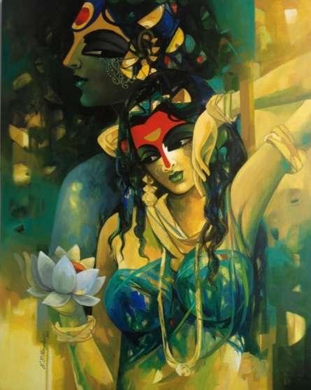 Figurative Acrylic Art Painting title 'Shiv Parvati In Rhythm Iii' by artist Rajeshwar Nyalapalli
