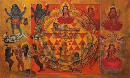 Religious Acrylic Art Painting title 'Dasha Maha Vidya' by artist N P Rajeshwarr