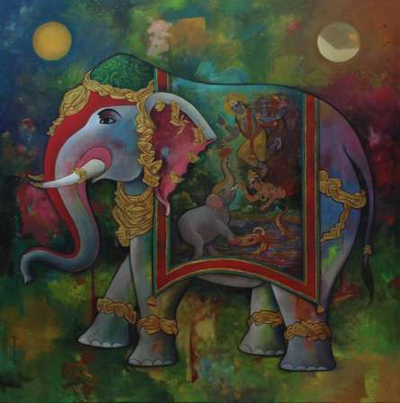 Religious Acrylic Art Painting title 'Gajendra Moksha' by artist N P Rajeshwarr
