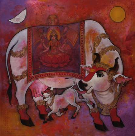 Religious Acrylic Art Painting title 'Kamadenu 1' by artist N P Rajeshwarr