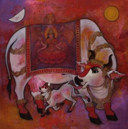 Kamadenu 1 | Painting by artist N P Rajeshwarr | acrylic | Canvas
