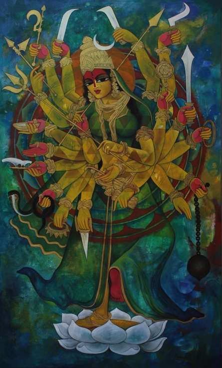 Religious Acrylic Art Painting title 'Mahadevi' by artist N P Rajeshwarr