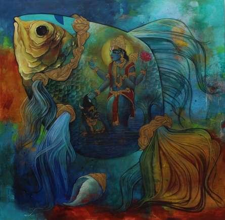 N P Rajeshwarr | Acrylic Painting title Mathya Avatara on Canvas | Artist N P Rajeshwarr Gallery | ArtZolo.com