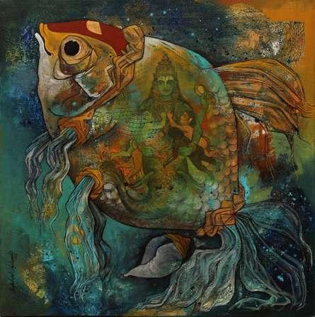 Mathya Avatara | Painting by artist N P Rajeshwarr | acrylic | Canvas