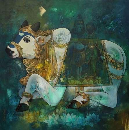 Religious Acrylic Art Painting title Nandi by artist N P Rajeshwarr