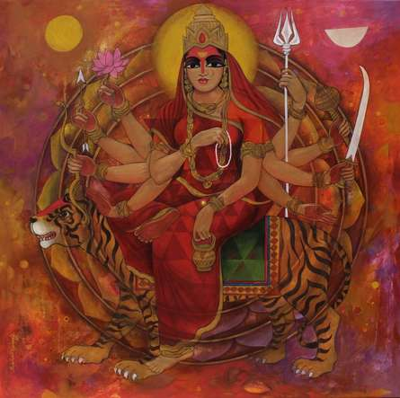 Religious Acrylic Art Painting title 'Shakthi' by artist N P Rajeshwarr