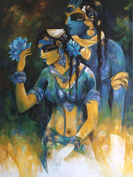 Religious Acrylic Art Painting title 'Shiv Parvati 2' by artist N P Rajeshwarr