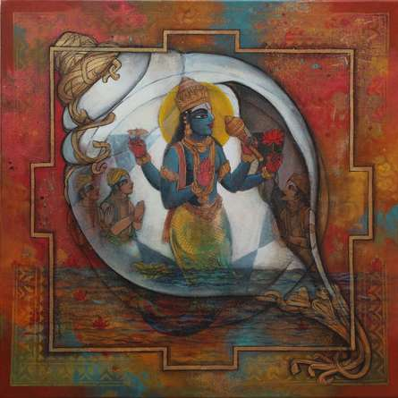 N P Rajeshwarr | Acrylic Painting title Vishnu on Canvas | Artist N P Rajeshwarr Gallery | ArtZolo.com