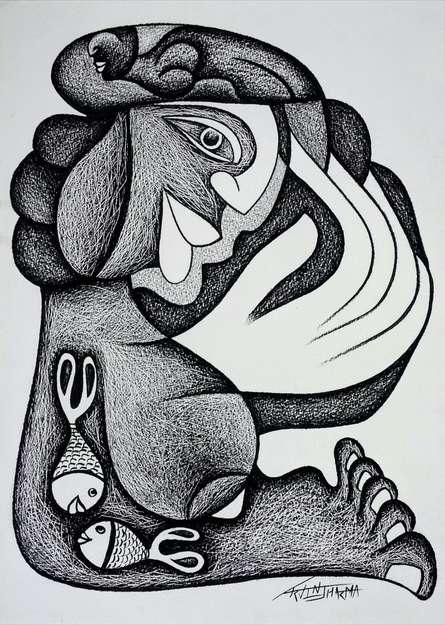 Figurative Pencil Art Drawing title Mesmerizing Dream by artist Arvind Sharma