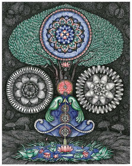 Religious Pen-ink Art Drawing title Kundalini Yoga Nali by artist V Vasandan