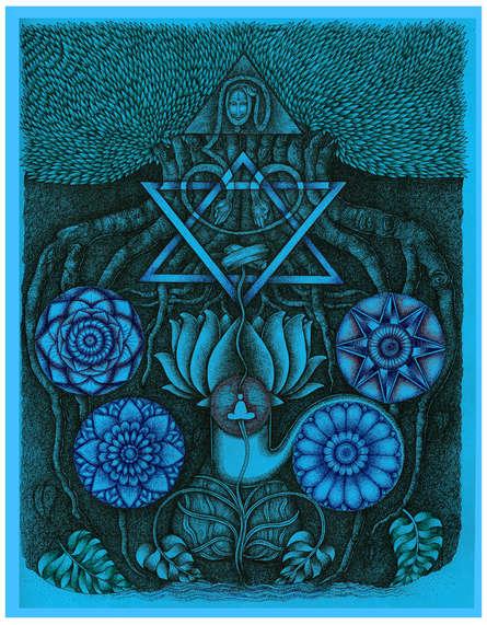 Religious Pen-ink Art Drawing title Lord Ganesh Travel To Shiva by artist V Vasandan