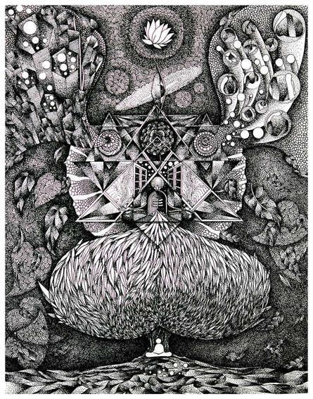 Religious Pen-ink Art Drawing title Meditation To Lord Shiva by artist V Vasandan