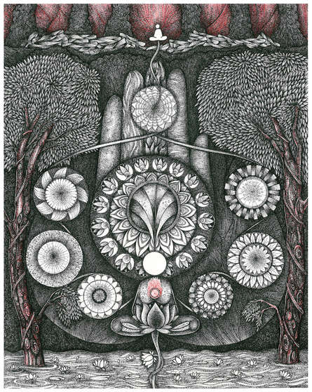 Religious Pen-ink Art Drawing title Pancha Bootham by artist V Vasandan