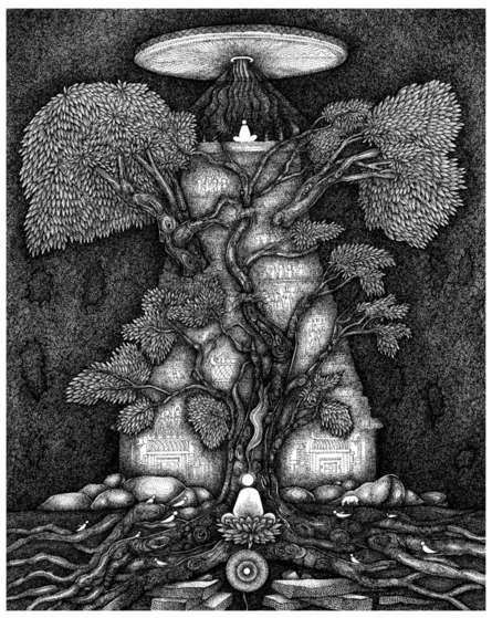 Religious Pen-ink Art Drawing title Temple Chakrasize by artist V Vasandan