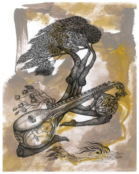 contemporary Pen-ink Art Drawing title The Feeling Of Music Size by artist V Vasandan