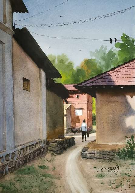 Landscape Watercolor Art Painting title Beauty Of Village by artist Niketan Bhalerao