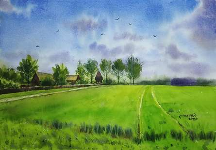 Landscape Watercolor Art Painting title Beauty Of Nature by artist Niketan Bhalerao