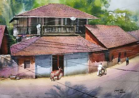 Cityscape Watercolor Art Painting title Konkan Diaries -1 by artist Niketan Bhalerao