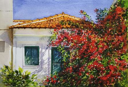 Landscape Watercolor Art Painting title House covered with Flowers by artist Niketan Bhalerao
