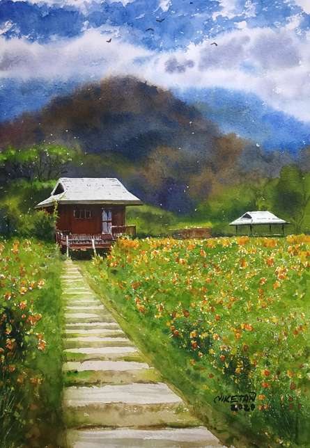 Landscape Watercolor Art Painting title Valley Of Flowers by artist Niketan Bhalerao