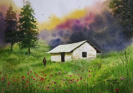 Landscape Watercolor Art Painting title The House On The Hill by artist Niketan Bhalerao
