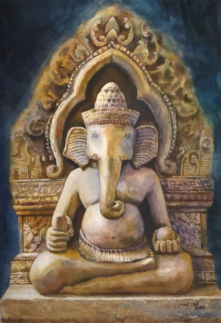 Figurative Watercolor Art Painting title Ganesha by artist Niketan Bhalerao
