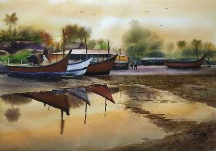 Landscape Watercolor Art Painting title 'Resting Boats' by artist Niketan Bhalerao