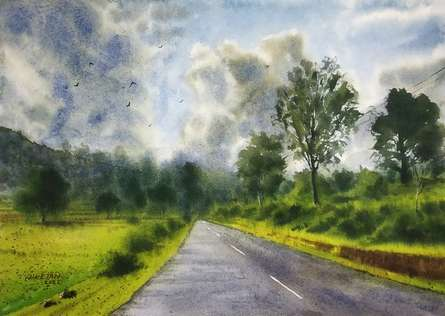Landscape Watercolor Art Painting title The Play Of Sky by artist Niketan Bhalerao