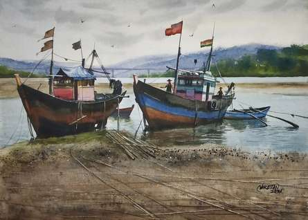 Seascape Watercolor Art Painting title Fishing Boat's by artist Niketan Bhalerao