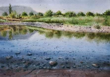 Landscape Watercolor Art Painting title Rural Beauty by artist Niketan Bhalerao