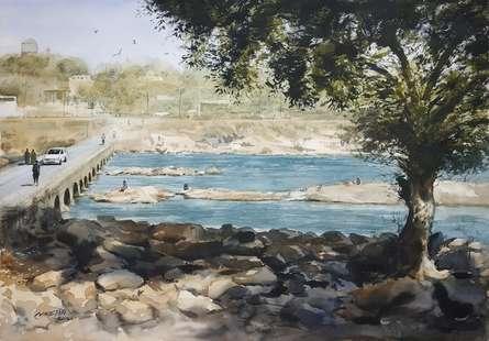 Landscape Watercolor Art Painting title Beauty Of Village by artist Niketan Bhalerao