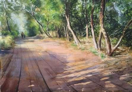 Landscape Watercolor Art Painting title Nature by artist Niketan Bhalerao