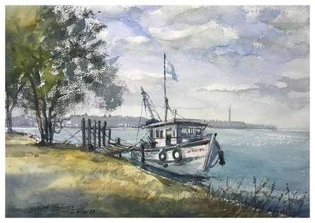 Landscape Watercolor Art Painting title Boat Kodi Beach Ksfarvez by artist KS Farvez