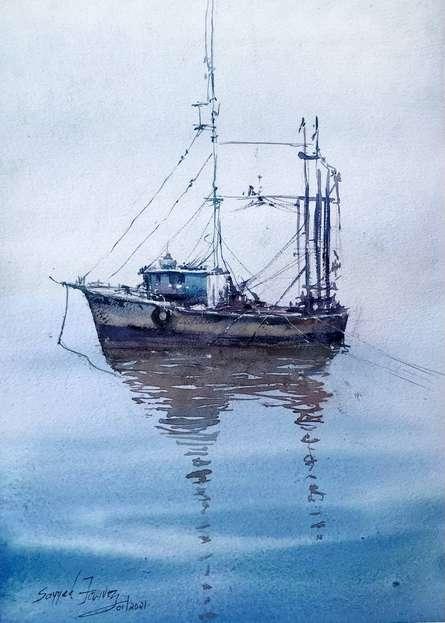 Landscape Watercolor Art Painting title Flying Boat Ksfarvez by artist KS Farvez