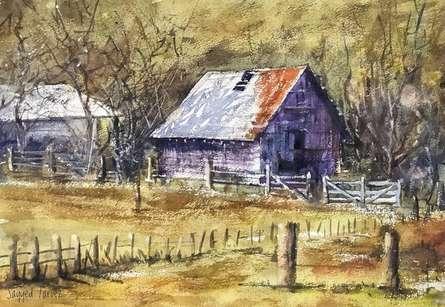 Landscape Watercolor Art Painting title In Between Wood by artist KS Farvez