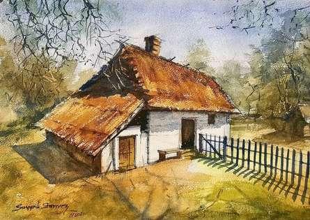 Landscape Watercolor Art Painting title House by artist KS Farvez