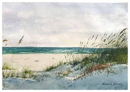 Landscape Watercolor Art Painting title Sand Ksfarvez by artist KS Farvez