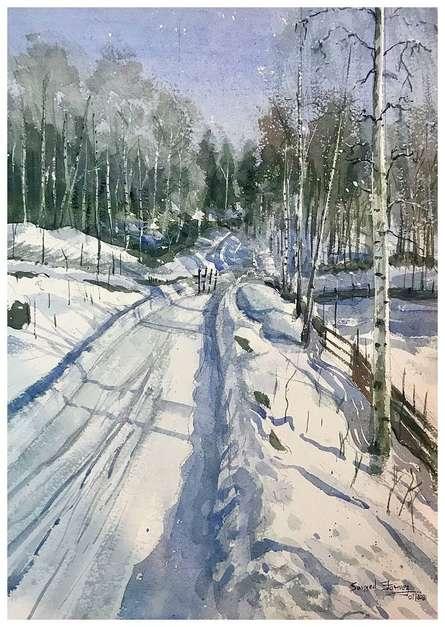 Landscape Watercolor Art Painting title Winter Ksfarvez by artist KS Farvez