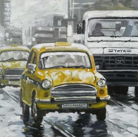 Cityscape Acrylic Art Painting title Kolkata 12 by artist Raju Sarkar