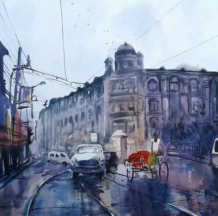 Cityscape Watercolor Art Painting title Kolkata 21 by artist Raju Sarkar