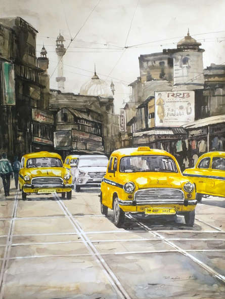 Cityscape Watercolor Art Painting title Kolkata 22 by artist Raju Sarkar