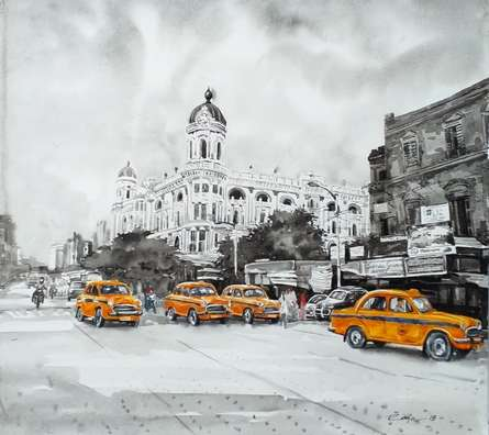 Cityscape Watercolor Art Painting title Kolkata 8 by artist Raju Sarkar