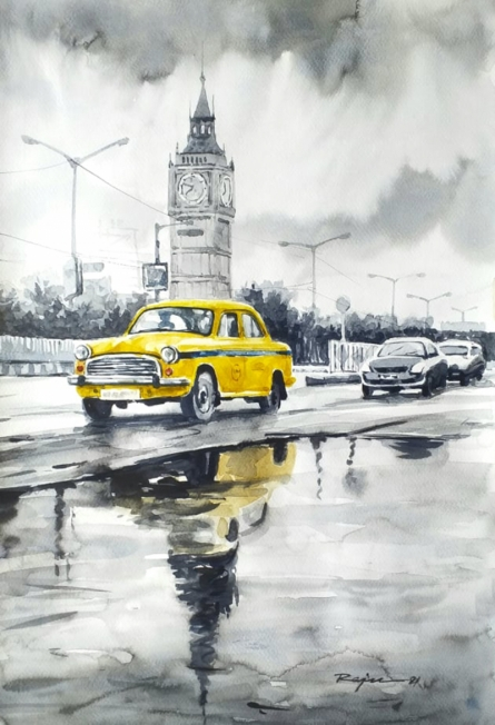Cityscape Watercolor Art Painting title Kolkata Street by artist Raju Sarkar