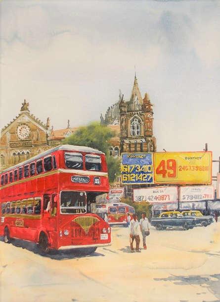 Cityscape Watercolor Art Painting title Mumbai 2 by artist Raju Sarkar