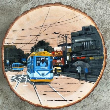 Transportation Acrylic Art Painting title Trams In Kolkata by artist Raju Sarkar