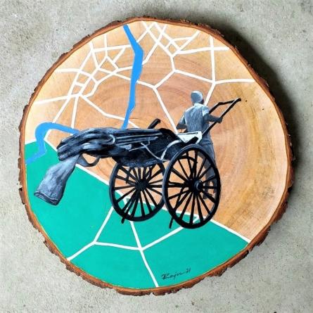 Transportation Acrylic Art Painting title Untitled 4 by artist Raju Sarkar